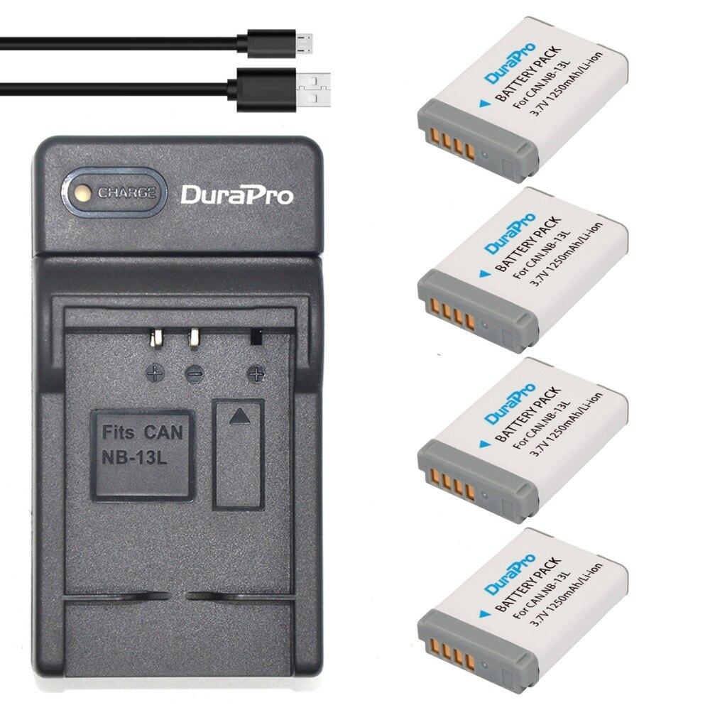 DuraPro 4Pcs NB 13L Battery Ultra Slim USB Digital font b Charger b font for Canon