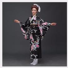 Пикантные черные сапоги японский для женщин вечернее платье шелк кимоно из вискозы юката с Оби танцы косплэй костюм цветок один размер