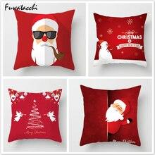 Fuwatacchi Christmas Throw Pillows Printed Cushion Cover Snow Santa Pillow Cover Deer Tree Decorative Pillowcase for Home Sofa christmas tree printed decorative thick throw pillowcase