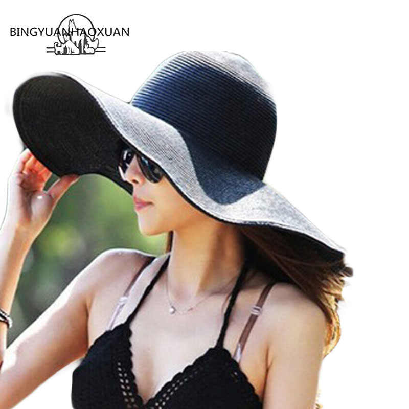 BINGYUANHAOXUAN Hot! 2018 Fashion Zomer Dames dames Opvouwbare Wide Brede Rand Floppy Hoed Strand Zonnehoed Stro Cap