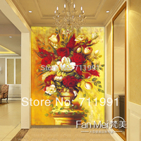Free Shipping Custom 3D Mural Wallpaper Dining Room Entrance Hallway Background Wallpaper European Paintings Of Flowers