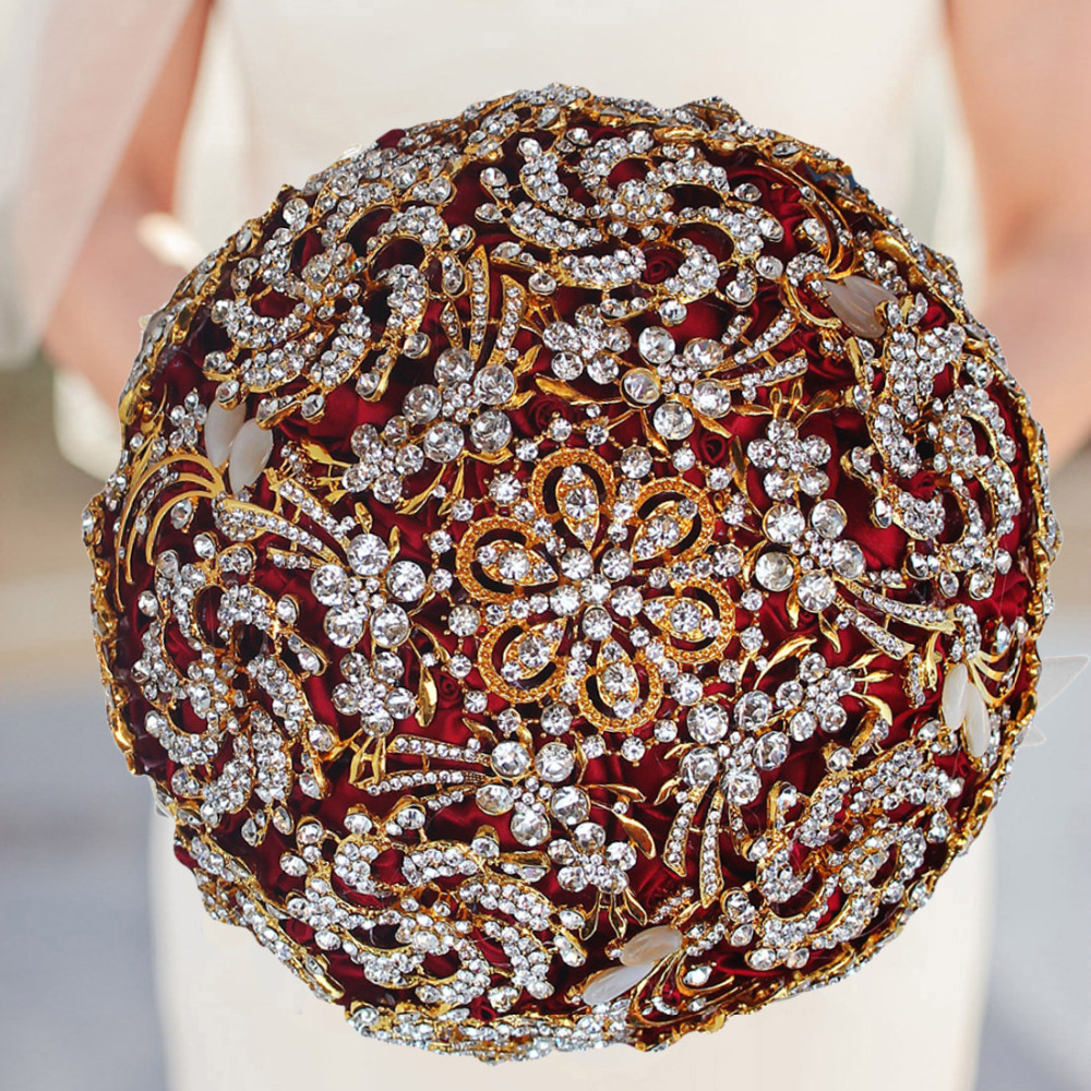 18X25CM Golden Crystal Brooch Jewelry Bridal Wedding Bouquet Handmade Wine Red Rose Wedding Flower and match groom Boutonniere