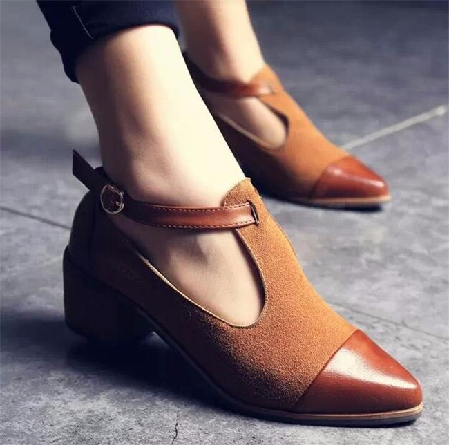 Brand Fashion Hot Women Pumps Pointed Toe Buckle Leather Female High Heels Shoes Spring and Autumn High Heels Pumps Lu1 35 new 2017 spring summer women shoes pointed toe high quality brand fashion womens flats ladies plus size 41 sweet flock t179