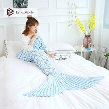 Liv-Esthete Hot Sale Colorfu Knitted Mermaid Tail Blanket Crochet Sleeping Bag For Kids Adult All Season Birthday Christmas Gift