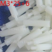 M3*25+6 white 1pcs 25mm Nylon Standoff Spacer Standard M3 Male-Female Kit Repair Set High Quality PC tool