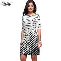 Fashion Black White Women Dress Half Sleeve Autumn Dresses Plus Size Sexy Dress Vintage Office Bodycon