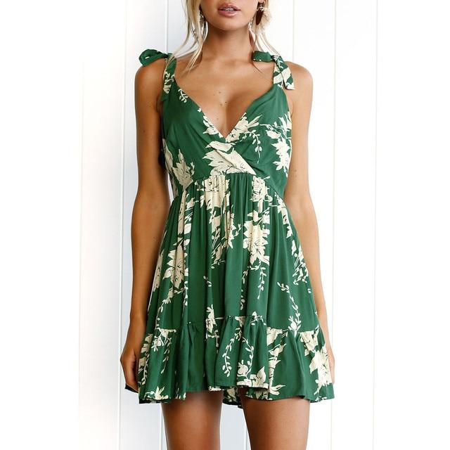 feitong Womens Summer Casual Off Shoulder print V-neck Beach sexy Dress 2019 Vestidos