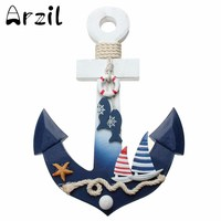 Hook Wooden Nautical Anchor Vintage Mediterranean Style Wall Hanging Ship Star Fish Decor Coat Door