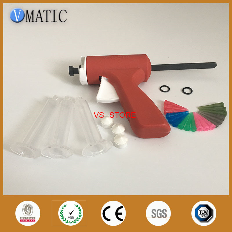 Free Shipping Brand 10ml/cc Manual Syringe Gun Single Liquid Glue Gun 10cc With Plastic Needles