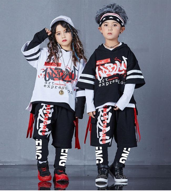 4 pièces nouvelle mode imprimé cool garçons filles vêtements ensemble coton t-shirt hip hop danse pantalon sport vêtements costumes enfants tenues
