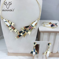 Viennois African Earring Set Dubai Gold Jewelry Sets For Women Trendy Style Female Party Bracelet Sets