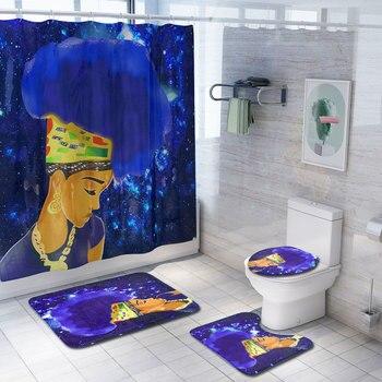 набор современных аксессуаров для ванной | 4 шт./компл. африканская Девочка Душ Занавес Набор ковриков для ванны Туалет крышка коврик для ванной занавес S с 12 крючками Аксессуары для до...