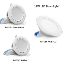 2.4G 12W Milight RGB+CCT LED Downlight AC86-265V FUT066 Led panel light Round dimmable&remote milight ac86 265v 4w led bulb gu10 dimmable led lamp light rgb warm white white rgb cct spotlight indoor living room