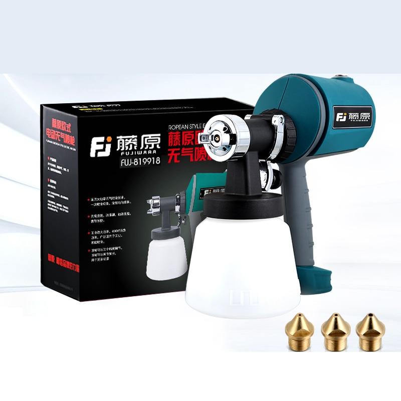 FUJIWARA Electric spray gun High Atomization Latex Paint Airbrush Paint Spray Gun Painting Tools 1.5/1.8/2.5mm