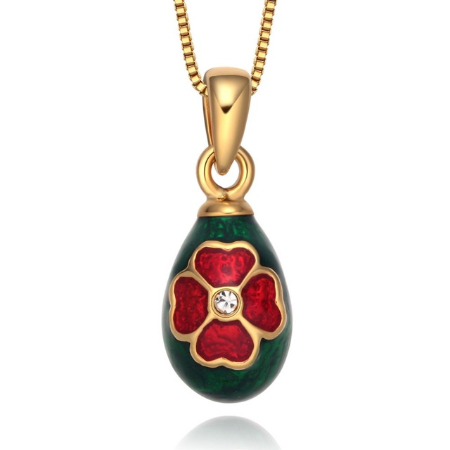Hottest enamel handmade jewelry gold plating four leaf clover hottest enamel handmade jewelry gold plating four leaf clover brass faberge egg pendant charm crystal mozeypictures Gallery