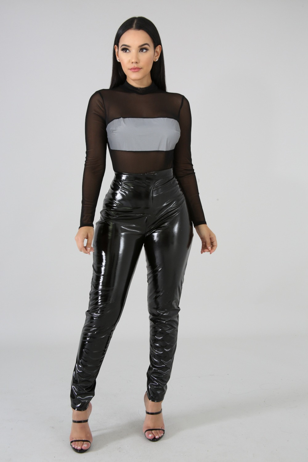 Mesh Patchwork Reflective Women Set Sexy Perspective Mesh O Neck Crop Top With PU Pants Two Piece Set Night Club Suit Female Set