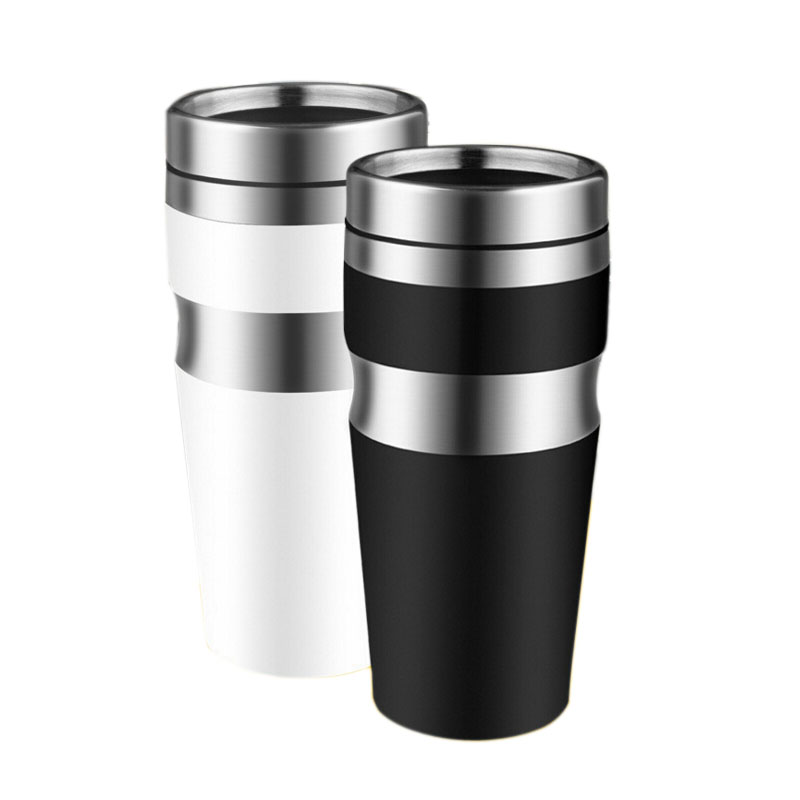 450 ml Stainless Steel Water Cups Black White Cup Coffee Mug Tea Fashion Bottle Thermocup Car