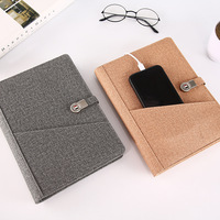 A5 Fabric Business Notebook Magic Hard Cover Luxury Agenda Secret Diary Bullet Journal Muji Stationery With USB U Disk Holder
