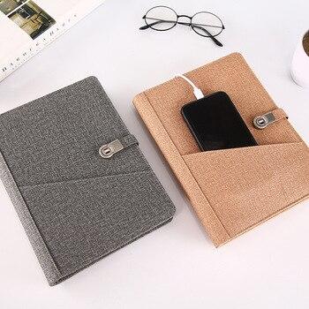 A5 Stof Business Notebook Magic Hard Cover Luxe Agenda Geheime Dagboek Bullet Journal Muji Briefpapier Met USB U Disk Houder