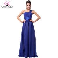 Lange bruidsmeisjekleding 2017 grace karin vrouwen een schouder koningsblauw paars chiffon goedkope bruiloft jurken onder 50
