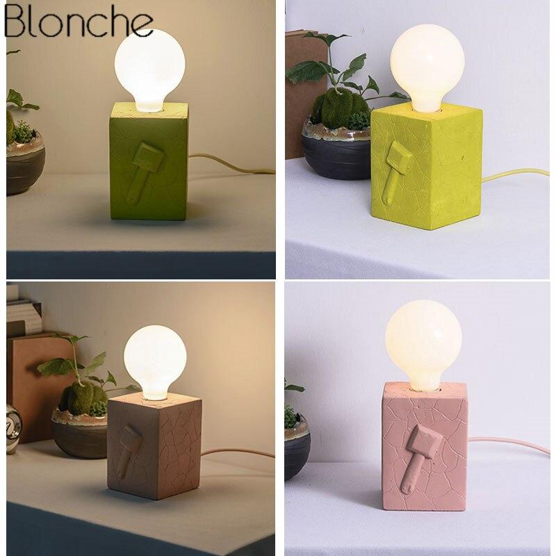 Lampe de Table Led moderne lampe de bureau créative en ciment lampe de lit pour la lecture étude décor à la maison lampe de chevet colorée E27 Luminaire Loft - 4
