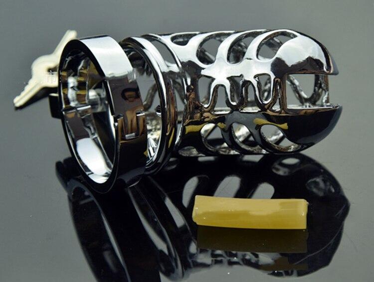 Hommes chasteté serrure en acier inoxydable male chastity dispositif/métal argent urètre blocage cadenas à clé cage Hommes Métal Pénis serrure