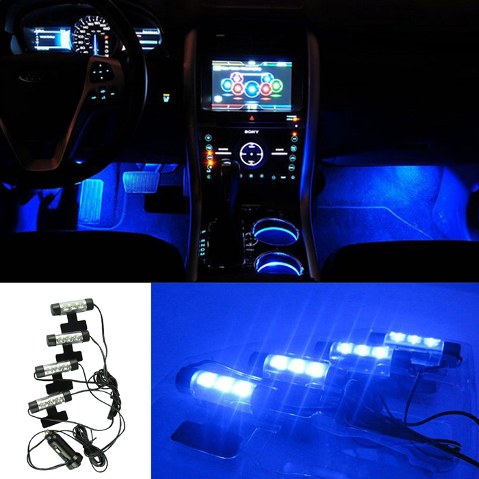 Car Charge interior accessories foot car decorative 12V 4 x 3 Blue LED Glow Neon Decor Interior Lights Set atmosphere light bulb