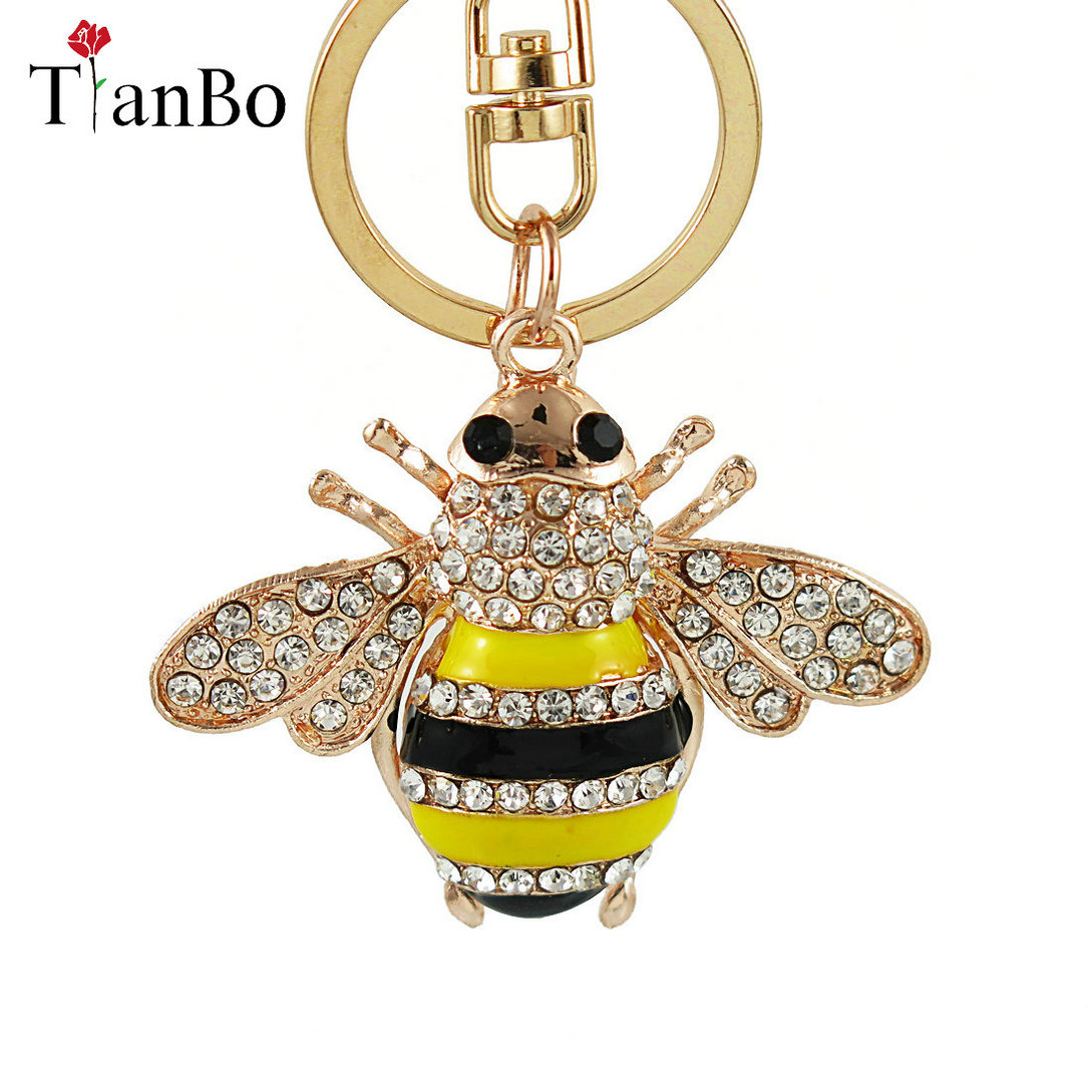Creative Crystal Rhinestone Bee Honey Keychains Keyring Women Car Bag  Charms Trinket Key Ring Holder Pendant Christmas Jewellery-in Key Chains  from Jewelry ... 81a8246193