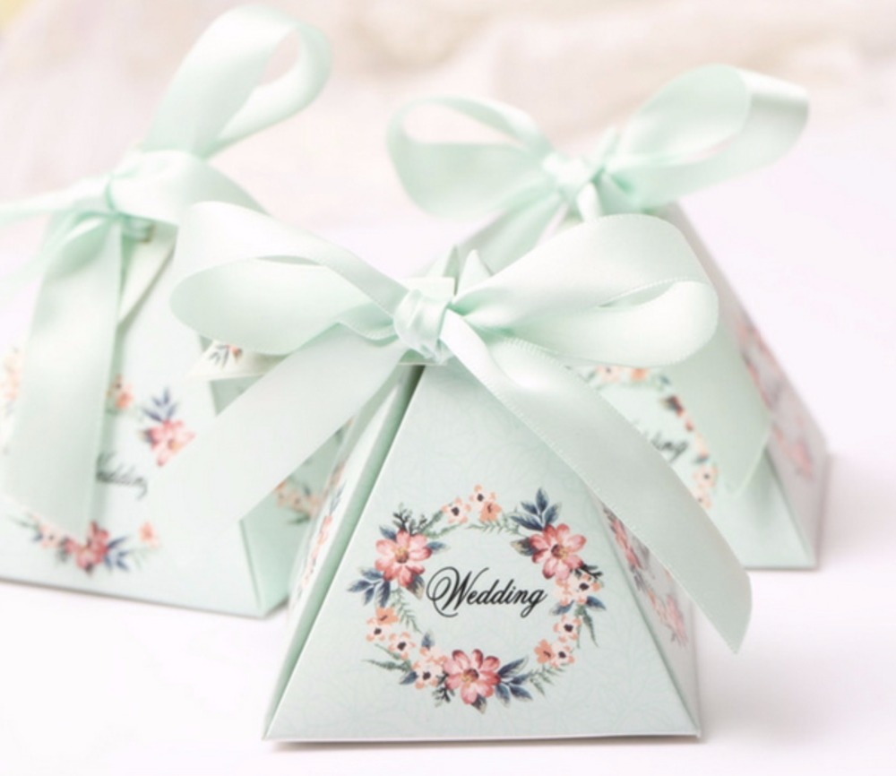 100pcs Hot Sale Floral Flower Printed Gift Box Triangular Pyramid ...