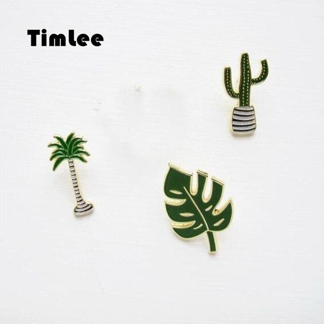 Timlee X033 Free shipping Cute Oil Drop Cartoon Tree Metal Brooch Pins,Fashion Jewelry Wholesale
