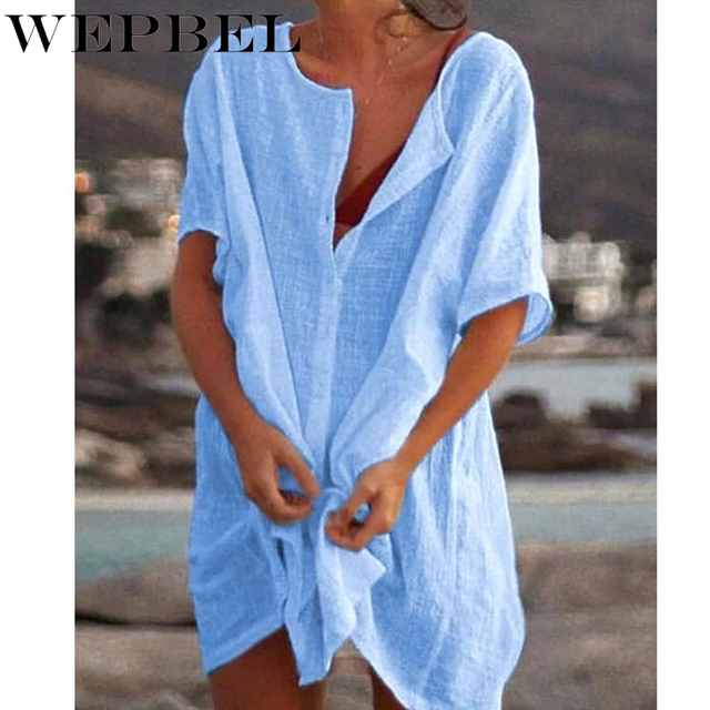 WEPBEL Womens Fashion Summer Short Sleeve Long Blouses Casual Loose Solid Color Plus Size Beach Wear Cover-up Short Linen Blouse 3