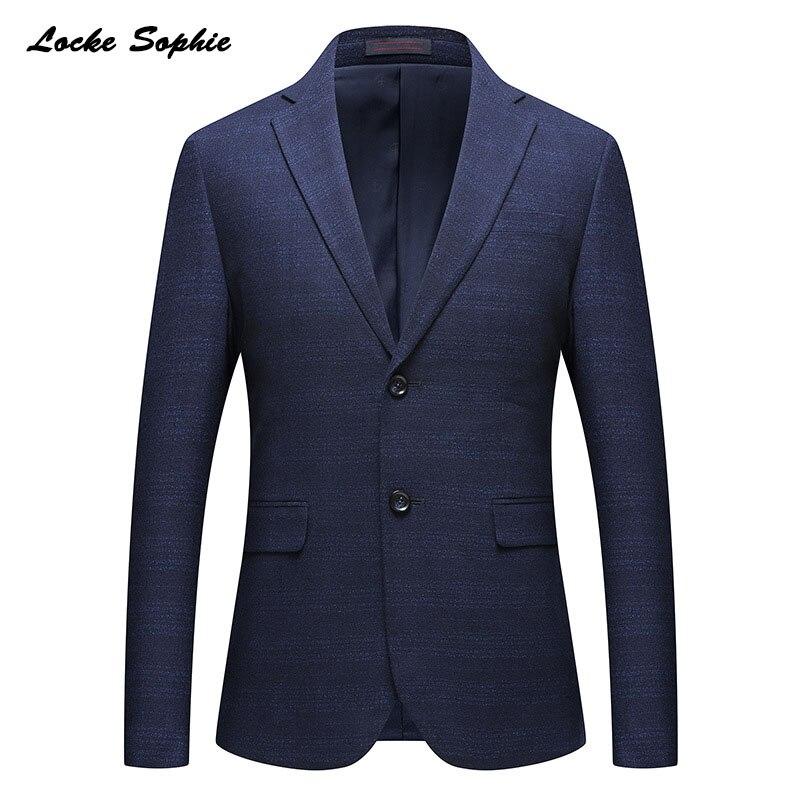 Veste De Printemps Taille 1 Fit Slim Bleu Boucle 2019 Mélange Maigre Blazer Hommes Plus Bureau Manteaux Double Coton Vestes Petit Pcs La EqwrxPqzX