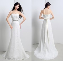 2016 High Quality Elegant Mermaid Wedding Dresses Sweetheart Off the Shoulder Sleeveless with Sashes Lace Up Wedding Gowns ZY219