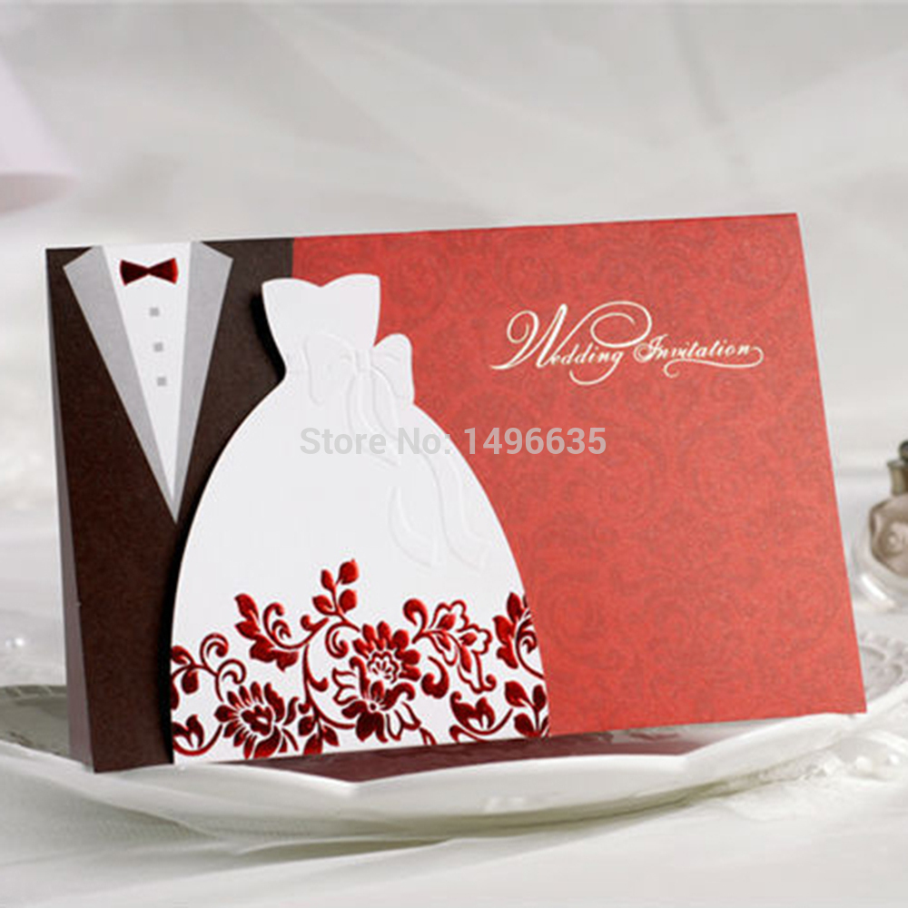 Red Wedding Invitations Flower Rustic Paper Cards Party Decorations ...