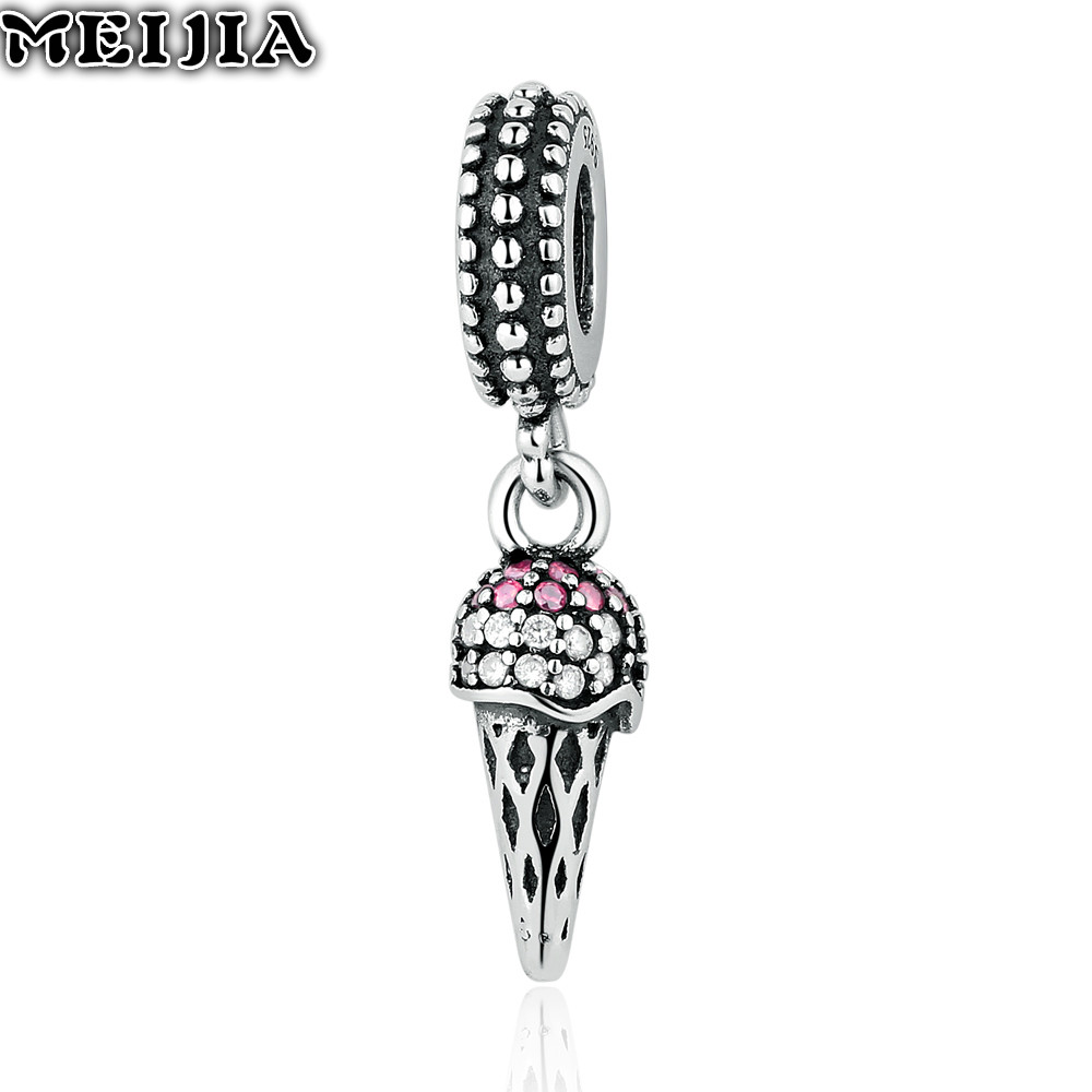 Authentic 925 Sterling Silver Bead Charm Vintage Ice Cream With Crystal  Pendant Beads Fit Pandora Bracelet