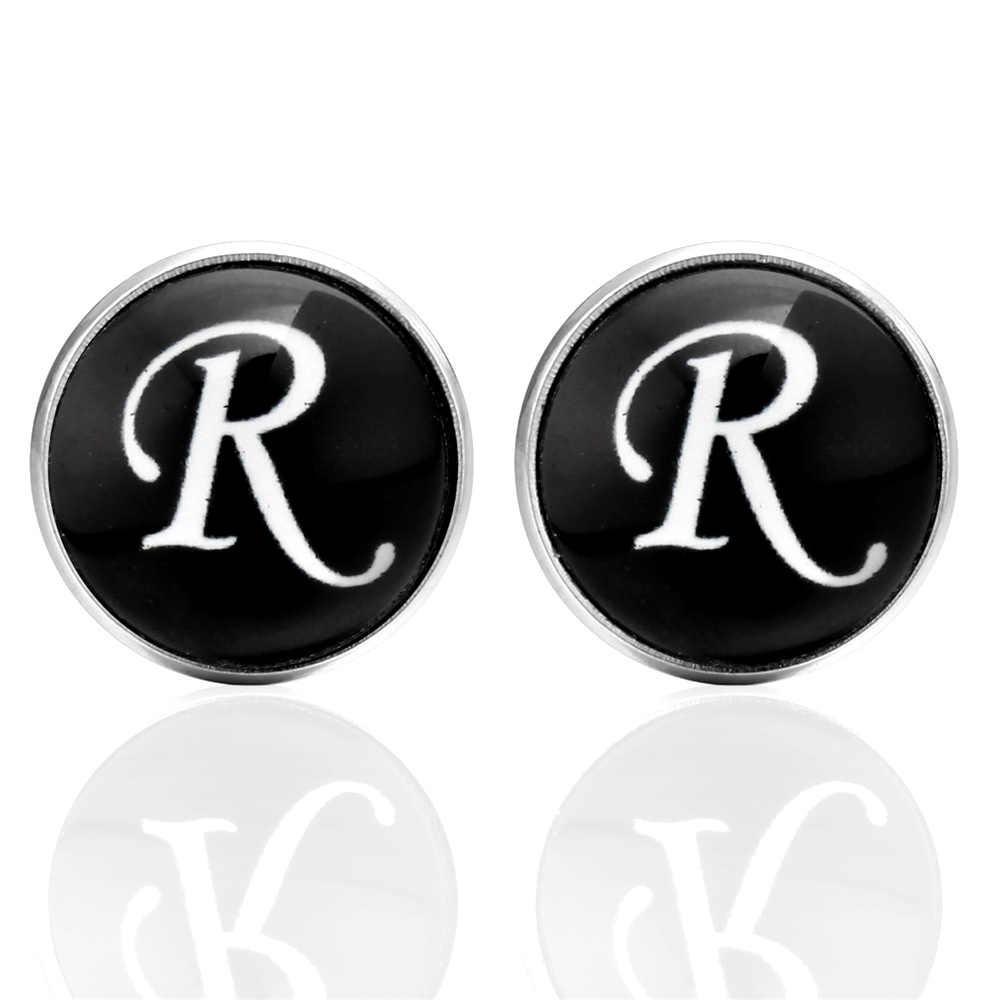 2018 Yeni Stil Düğün Erkek Kol Düğmesi Moda Kol Düğmeleri erkek Mektubu R Benzersiz Siyah Klasik erkekler takı