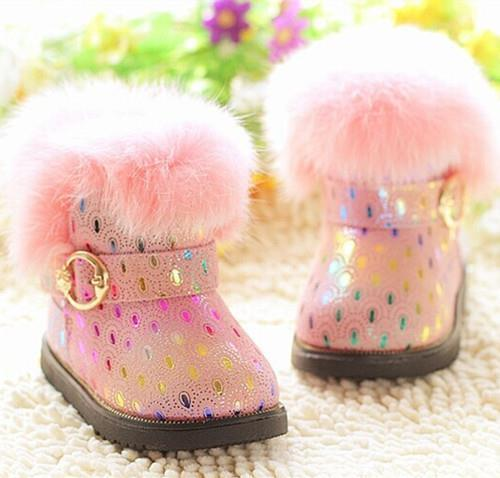 2016 new Baby shoes fur winter snow boots Girls genuine leather warm cotton-padded shoes for Kids Children 1-3 years toddler