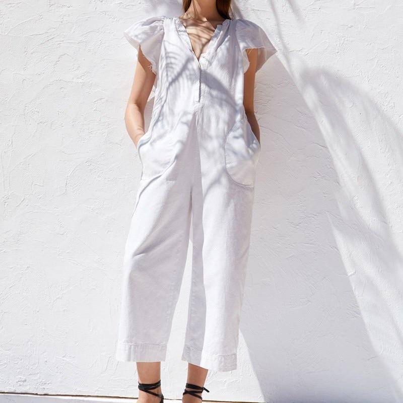 Ladies White Sexy Long   Jumpsuits   Women   Jumpsuits   Fashion Short Sleeve Bodysuit Female Elegant V Neck Ruffles   Jumpsuit