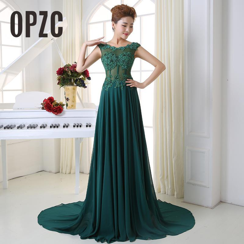 Dark Green Long Evening Dresses Bride Banquet Elegant Sexy Illustion With Small Train Prom Dress Customized Plus Size Party Prom