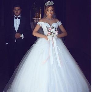Image 2 - The Latest Arabic Lace Off The Shoulder Wedding Dress 2021 V neck Bridal Gowns Vestido De Novia