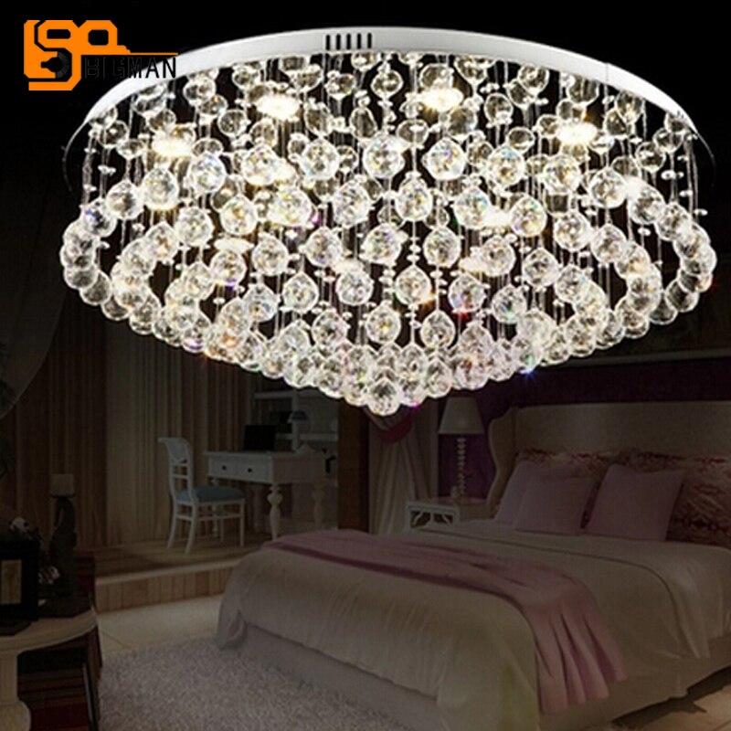 Nouveau lustre moderne plafond cristal lumière AC110V 220 V LED appareil d'éclairage lustre salon lampe