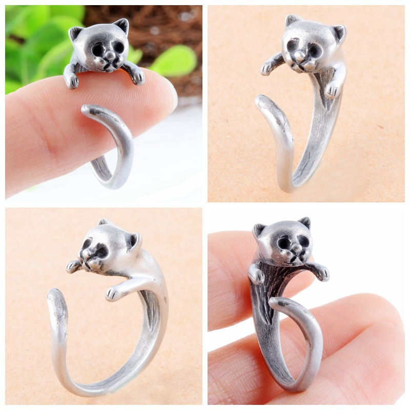 2016 New Year Gifts Silver Plated Animal Rings For Women Cute Cat Rings Jewelry Fashion Trend Open Adjustable Rings Black Friday