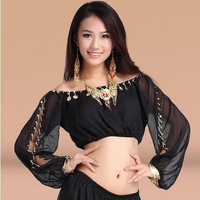 New Arrival Crystal Cotton And Mesh Belly Dance Top Momen Half Sleeves Belly Dance Tops Sexy