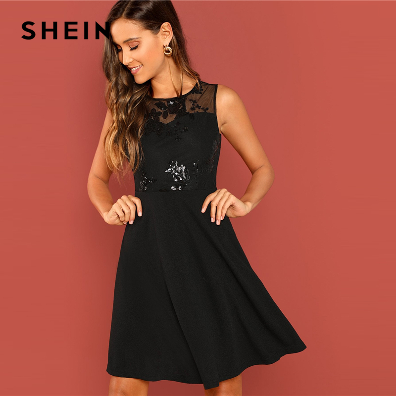 42a43c58ba SHEIN Going Out Black Modern Lady Contrast Mesh Contrast Shell Round Neck  Sleeveless Dress Women Autumn
