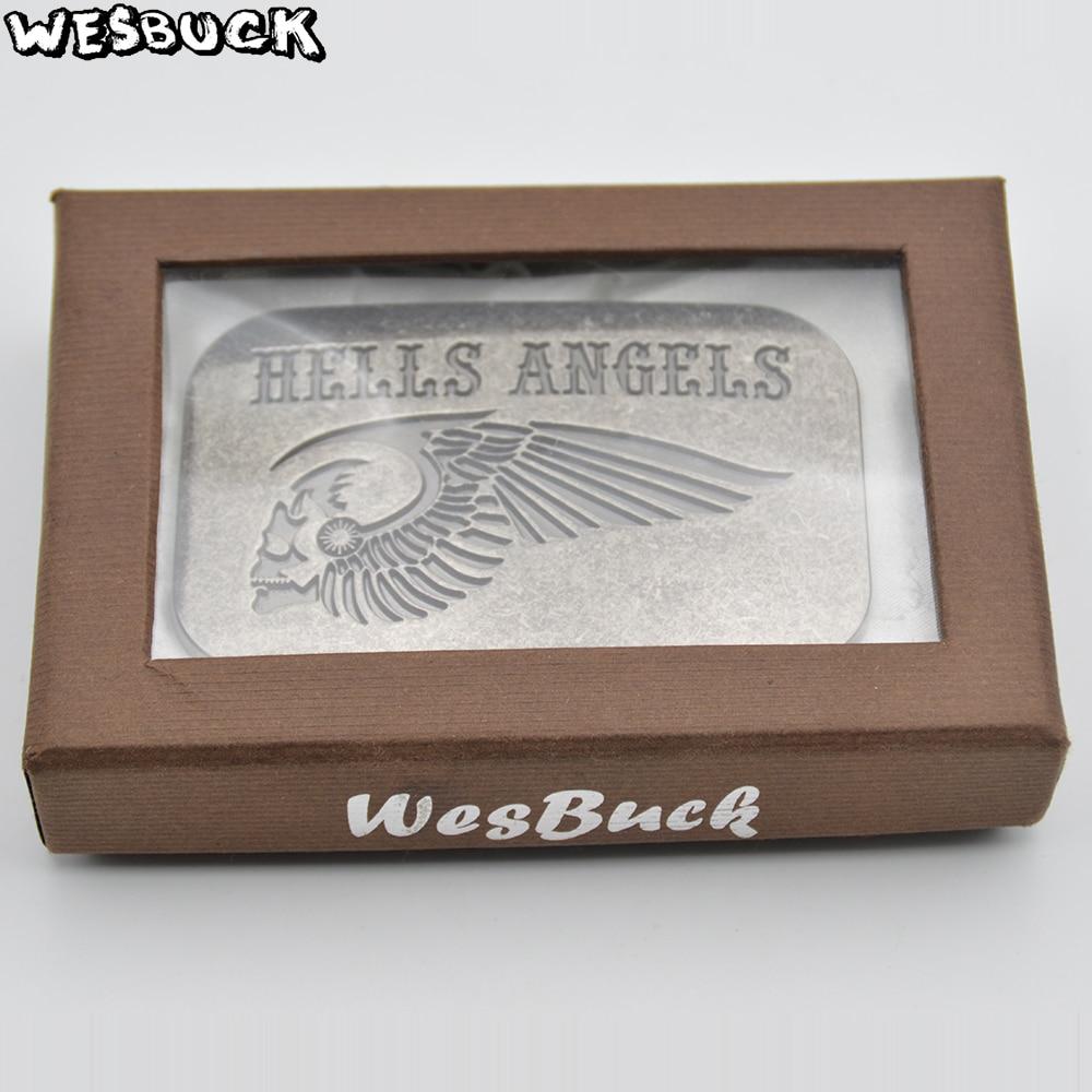WesBuck бренд Ангел череп мотоцикл пряжки ремня с антикварной серебряной отделкой пряжки ремня Западная металлические пряжки с поясом из иску...