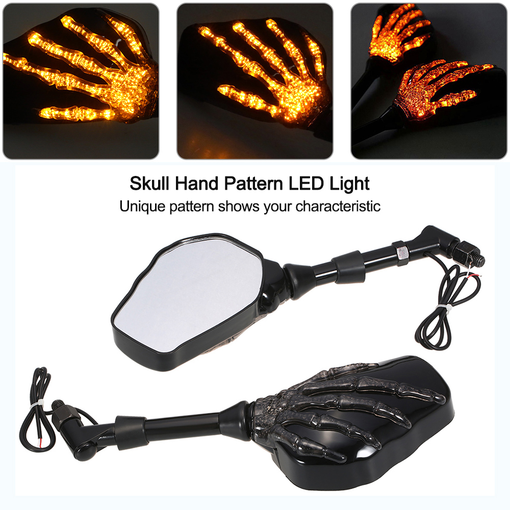 Motorcycle LED Light Turn Signal Rearview Mirror Skull Hand Pattern Ghost Claw Side Mirror Fit 10mm 8mm Thread Bolts