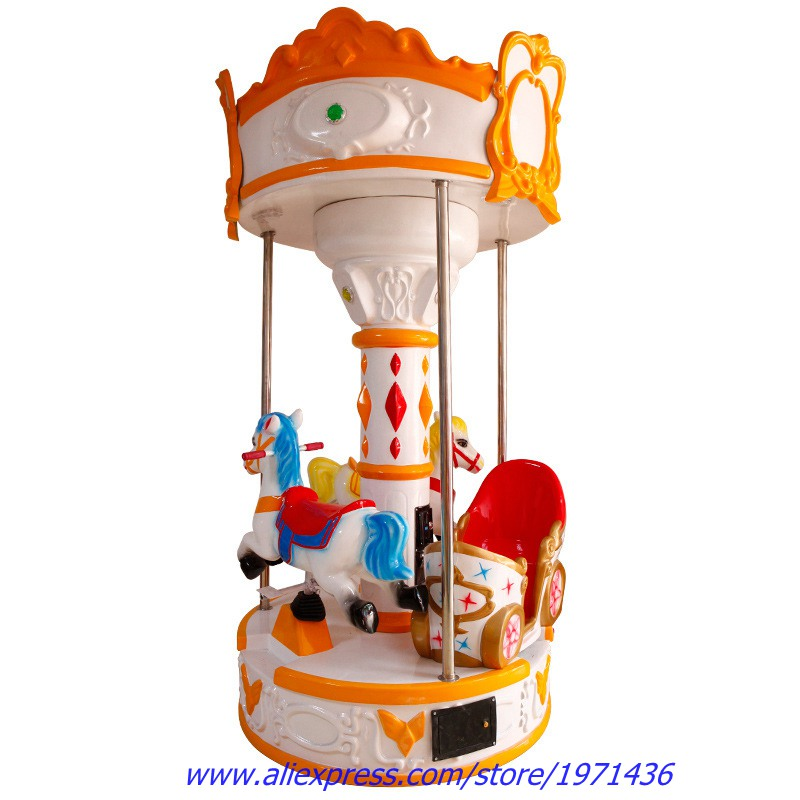 3 Kids Rotation Carousels Horse Fiberglass Kiddie Rides Amusement Park Game Machine