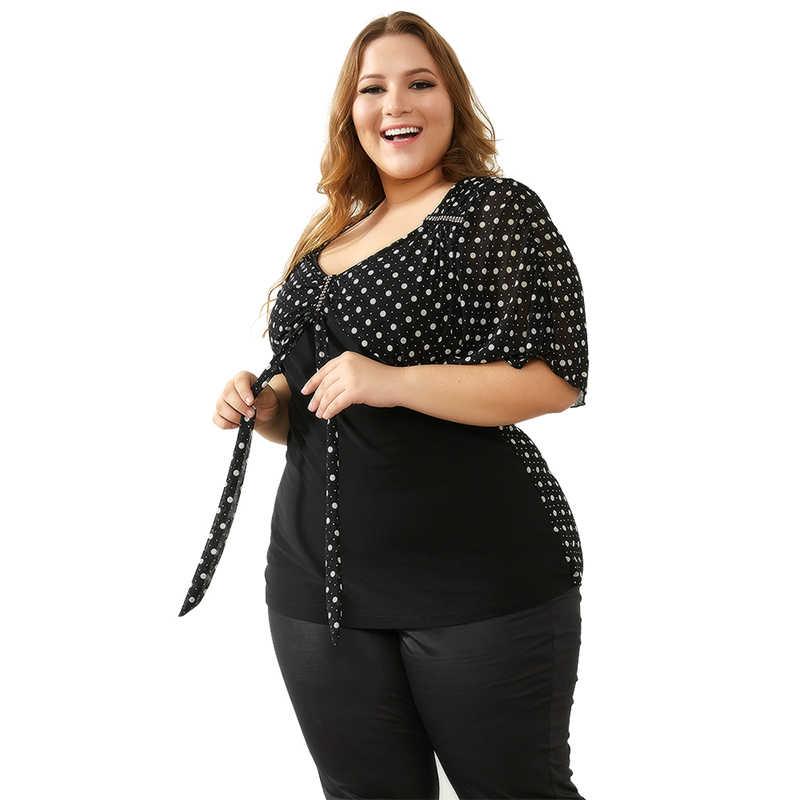 YTL женские летние топы плюс Размеры блузка Винтаж 50 s в горошек со стразами и бантом, с рукавом летучая мышь, с v-образным вырезом горловины, с длинным рукавом Повседневная рубашка футболки 8XL H060