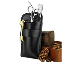 2017 Leather Hair Scissor Bag Clips Bag Hairdressing Barber Scissor Holster Pouch Holder Case With Waist