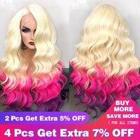 613 блондинка синтетические волосы на кружеве парик бразильский Реми свободная волна натуральные волосы Искусственные парики 360 синтетичес